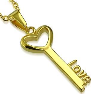 Ocelový přívěšek zlacený - klíč