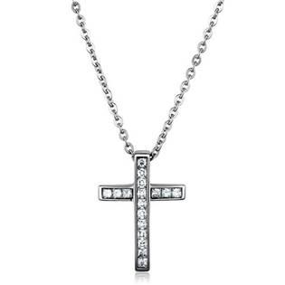 Ocelový řetízek a křížek se zirkony - OPE1233