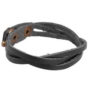 Kožený náramek splétaný - černý