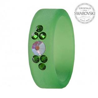 Prsten s krystaly Swarovski®, GREEN, vel. 56