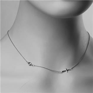 Stříbrný řetízek s křížkem a zirkonem - ZB87906