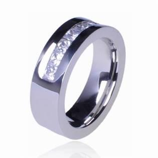 Ocelový prsten se zirkony, vel. 59