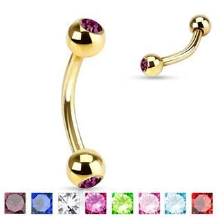 Pozlacený piercing do obočí s kamínky