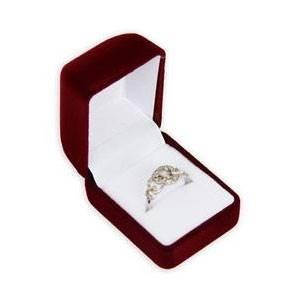 Bordó semišová dárková krabička na prsten