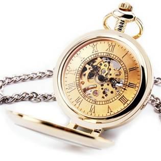 Zlacené mechanické kapesní hodinky otevírací - cibule - KH0033