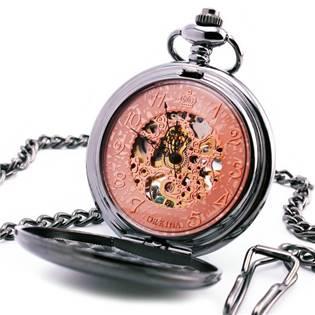 Mechanické kapesní hodinky otevírací - cibule - KH0035