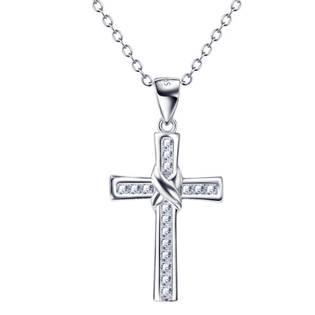 Stříbrný řetízek s přívěškem křížek se zirkony - SN3055
