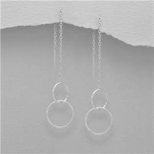 Visací stříbrné náušnice - kroužky - AL0014