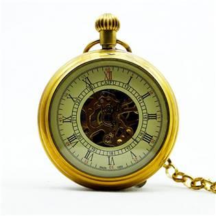 Retro mosazné kapesní hodinky - cibule - KH0009