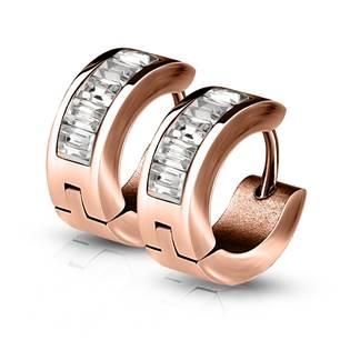 Zlacené ocelové náušnice - kroužky se zirkony