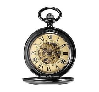 Mechanické kapesní hodinky otevírací černé - cibule - KH0045