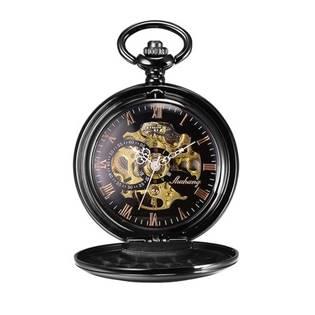Mechanické kapesní hodinky otevírací černé - cibule - KH0047