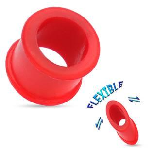 Silikonový tunel do ucha - červený