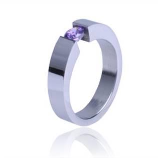 Ocelový prsten s fialovým zirkonem - OPR1001