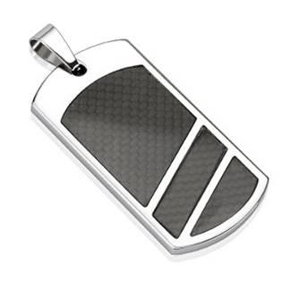Ocelový přívěšek - destička s karbonem