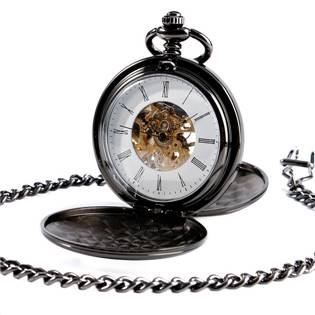 Mechanické kapesní hodinky otevírací černé - cibule - KH0048
