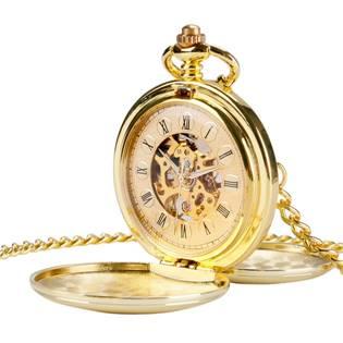 Mechanické kapesní hodinky otevírací zlacené - cibule - KH0049
