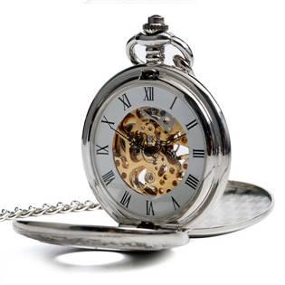 Mechanické kapesní hodinky otevírací s oramenty - cibule - KH0050