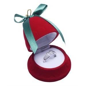 Vánoční dárková krabička na prsten - zvonek červený