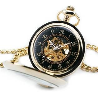 Zlacené mechanické kapesní hodinky otevírací - cibule - KH0058