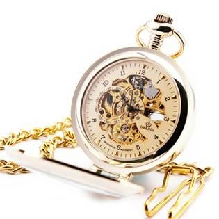 Zlacené mechanické kapesní hodinky otevírací - cibule - KH0053