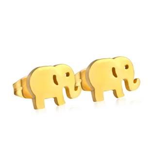 Zlacené ocelové náušnice - sloni