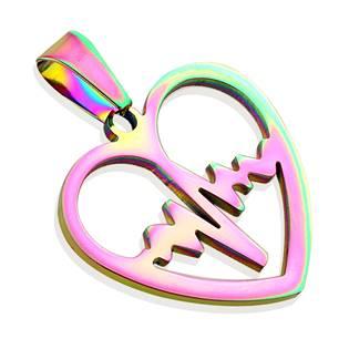 Duhový ocelový přívěšek - srdce heart beat - OPP1219-W