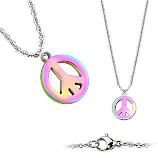 Ocelový náhrdelník peace - duhový - OPD0020-W