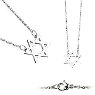 Ocelový náhrdelník - Davidova hvězda - OPD0021-ST