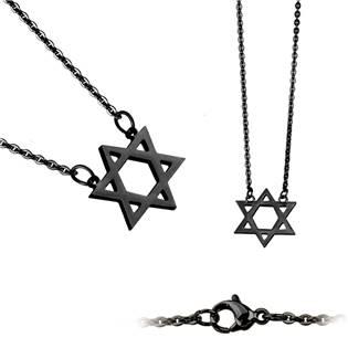 Černý ocelový náhrdelník - Davidova hvězda - OPD0021-K