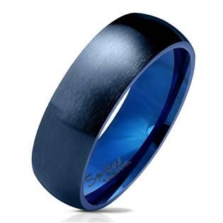 Modrý ocelový prsten, šíře 6 mm