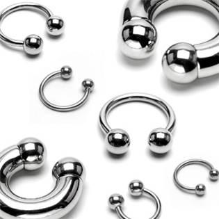 Piercing - podkova 1,2x10 mm, 4 mm kuličky
