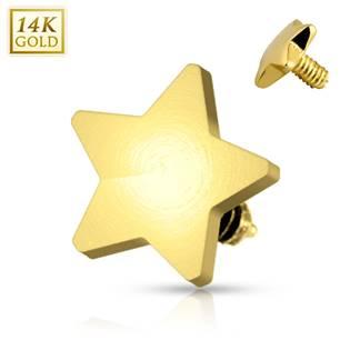Zlatý piercing - dermál hvězdička 4 mm, Au 585/1000 - ZL01048-04