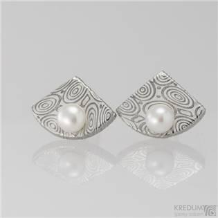 Kované damasteel naušnice s perlami - Raníčky