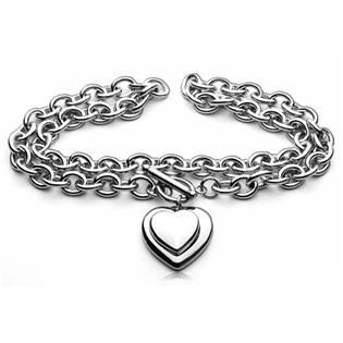 Dámský ocelový náhrdelník se srdíčkem