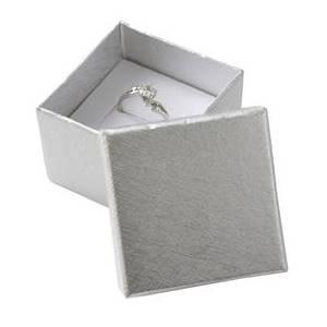 Dárková krabička na prsten nebo náušnice - stříbrná