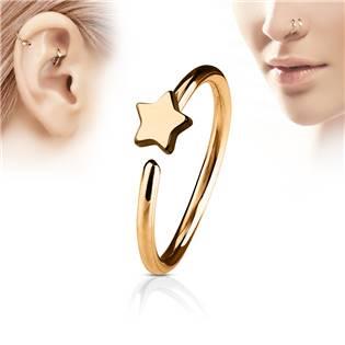 Zlacený iercing do nosu/ucha kruh s hvězdou