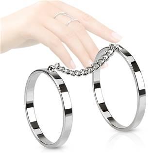 Dvojitý dámský prsten, vel. 15,5 + 18 mm