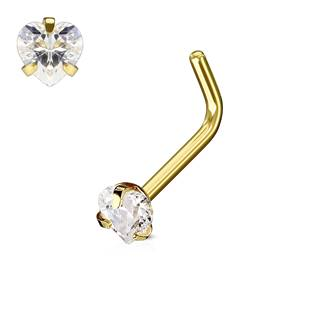 Zlacený piercing do nosu srdíčko, čirý kamínek