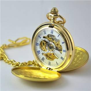 Mechanické kapesní hodinky otevírací zlacené - cibule