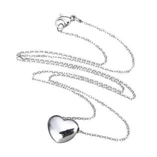 Ocelový náhrdelník s provlečeným srdíčkem