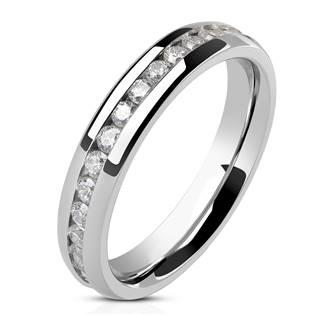 Luxusní dámský prsten se zirkony, šíře 4 mm