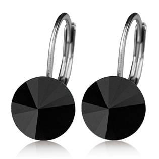 Ocelové náušnice s krystaly Swarovski®, BLACK JET