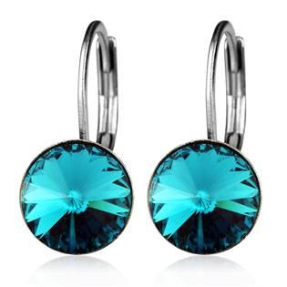 Ocelové náušnice s krystaly Swarovski®, BLUE ZIRCON