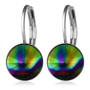 Ocelové náušnice s krystaly Swarovski®, RAINBOW DARK