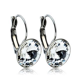 Ocelové náušnice s krystaly Swarovski® 12 mm, CRYSTAL