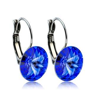 Ocelové náušnice s krystaly Swarovski® 12 mm, SAPPHIRE