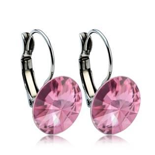 Ocelové náušnice s krystaly Swarovski® 12 mm, ROSE