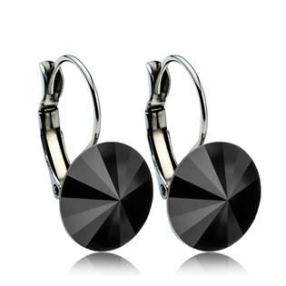 Ocelové náušnice s krystaly Swarovski® 12 mm, BLACK JET