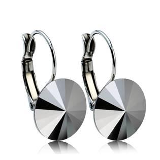 Ocelové náušnice s krystaly Swarovski® 12 mm, JET HEMATITE